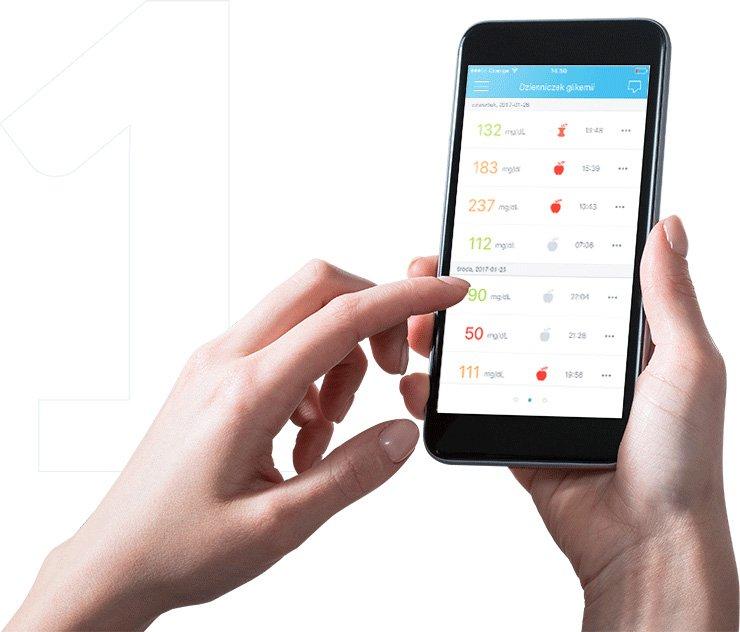 aplikacja mobilna Diabdis, dzienniczek glikemii